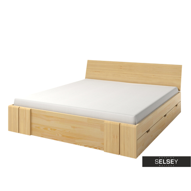 Bett LOKE mit Lattenrost und 4 Schubkästen (Kiefernholz)
