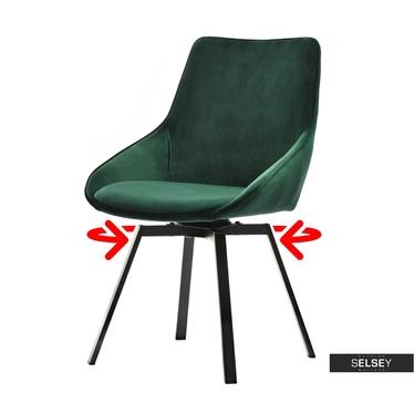 Polsterstuhl YANII grün mit schwarzem Metallgestell drehbar