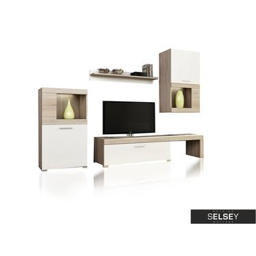 Wohnwand FLAVO weiß/Sonoma optional mit LED