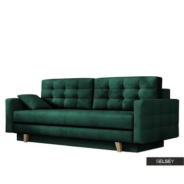 Sofa VERAT mit Veloursbezug in Dunkelgrün