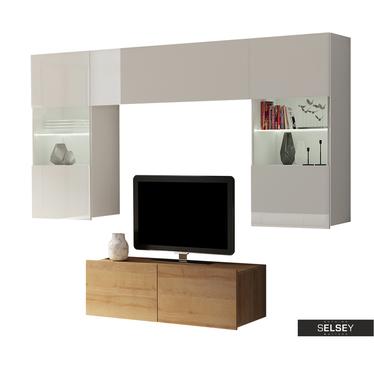 Wohnwand KIRDON hängend mit TV-Board 100 cm und LEDs