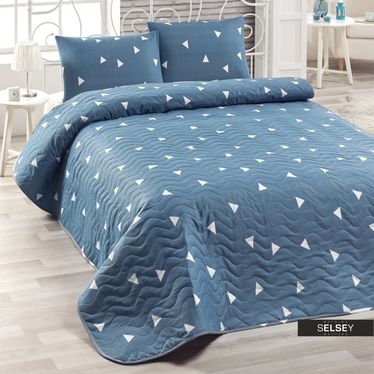 Tagesdecke TRIANGLES 160x200 cm und Kissenbezug 50x70 cm blau mit Dreieckmuster