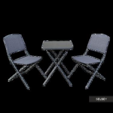Gartenmöbel-Set DOLORE Klapptisch und 2 Klappstühle in Grau