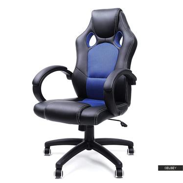 Drehstuhl REES schwarz mit blauen Einsätzen