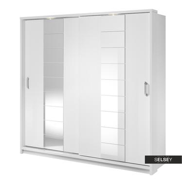 Kleiderschrank LUGAROS 220 cm mit 2 Spiegeln und LED-Beleuchtung