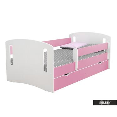 Kinderbett MIRRET weiß/pink mit Rausfallschutz