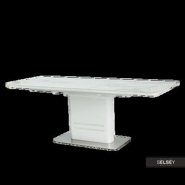 Esstisch MONACO weiß Marmor 160(210)x90 cm