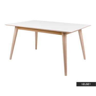 Esstisch BIMNAL Weiß / Natur ausziehbar 150-230x90 cm