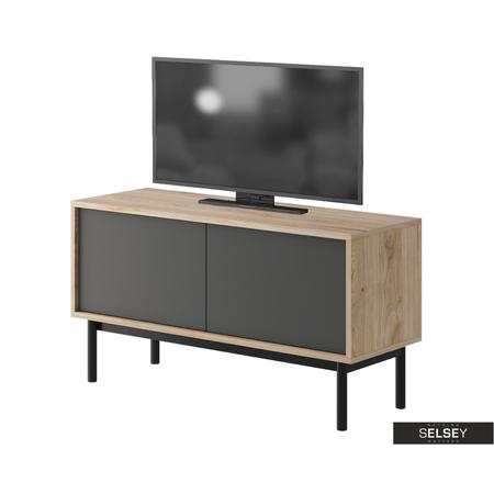 TV-Lowboard WELAGNE Eiche/grau/schwarz 104 cm