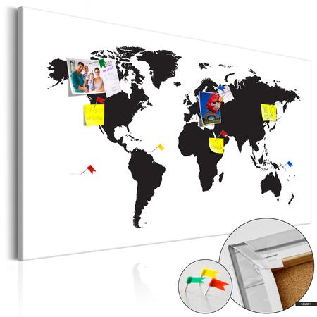 Pinnwand Weltkarte In Schwarz Weiss