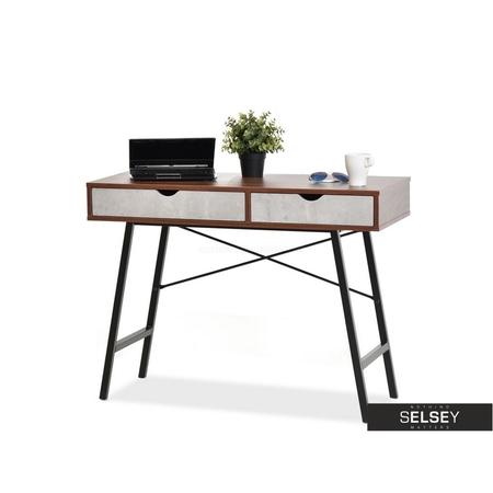 Schreibtisch FALUN Beton/Nussbaum