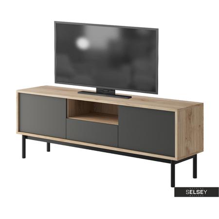 TV-Lowboard WELAGNE Eiche/grau/schwarz 154 cm