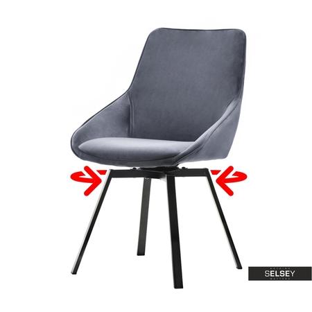 Polsterstuhl YANII grau mit schwarzem Metallgestell drehbar