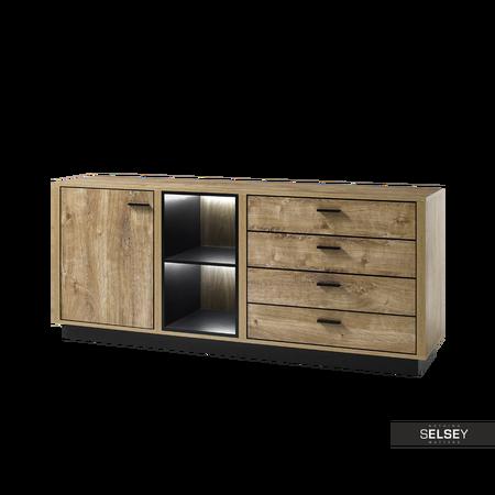 Sideboard HARRISOMY in Eiche Ribbec/Schwarz mit vier Schubladen