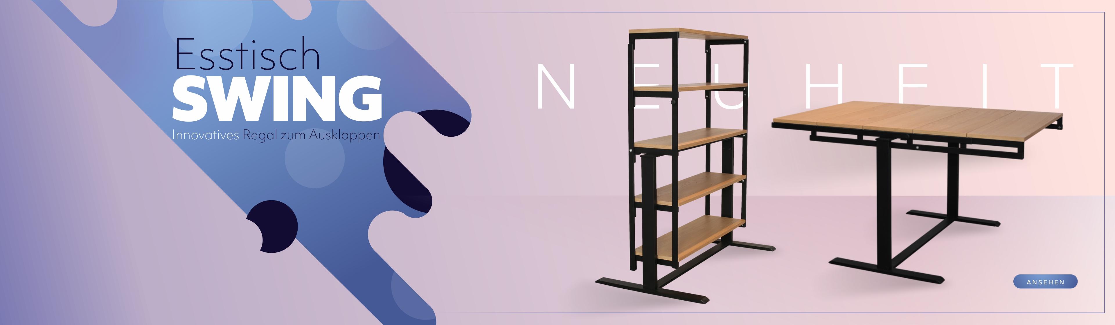 Esstisch und Regal in Einem. Beide Möbel vor einem violetten Hintergrund.